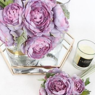"""G Home Collection Silk 6 Ranunculus Asiaticus Buttercup Bouquet in Purple 11"""" Tall - Pink 