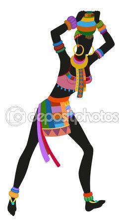 Mujer africana de danza étnica — Vector de stock #101107308