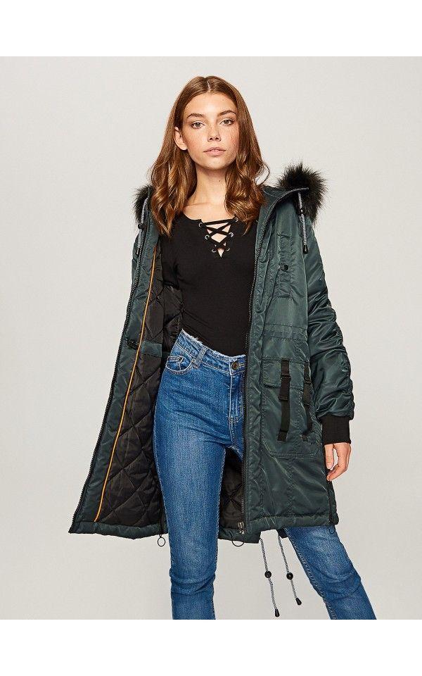 Kabát s kapucí, BUNDY, KABÁTY, zelená, RESERVED