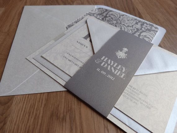 Wedding Invitation Suite - Damask Wedding Range. £3.50, via Etsy.