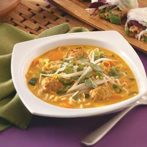Red Curry Carrot Soup Recipe  I have made this a few times and substitute chicken for the meatballs and Jasmine rice for the ramen noodles.   Very very good.: Chicken Soups, Carrot Soup Use, Soup Recipe, Carrots, Noodle Soups, Cook Soups, Curries, Red Curry
