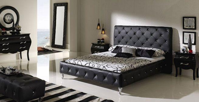 Cabecera y base acolchada capitonado color negro - Cabeceros de cama acolchados ...