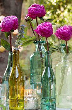 Easy DIY Wedding Reception Centerpieces - like the peonies, but maybe use dahlias?