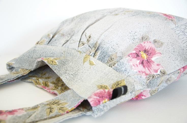 Grey and pink floral shoulder bag, $48.00