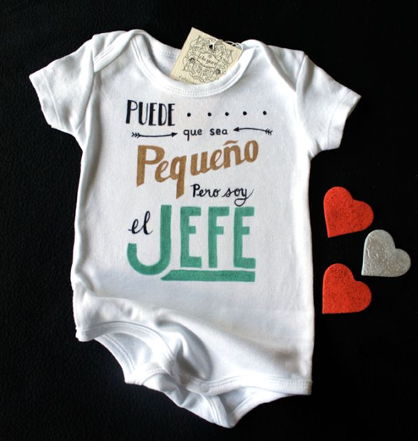 "ekeyart: El verdadero jefe de la familia, body para bebé pintado a mano  /  ""I might be small but I'm the boss"" hand painted baby onesie"