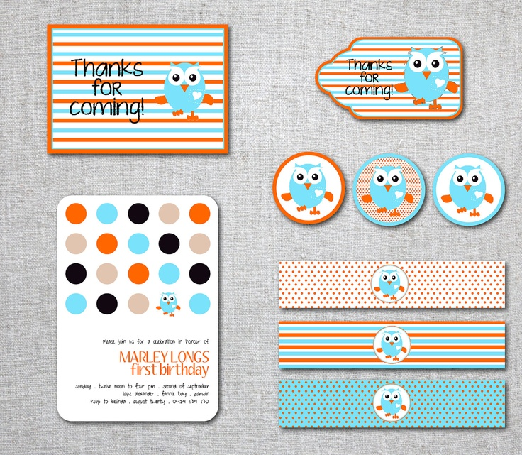 Kids Birthday Invitation GIGGLE & HOOT  Set Party Decorations Thank you tags, Labels, Cupcake Toppers Modern - Printable, Digital. $18.00, via Etsy.