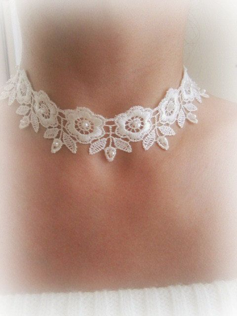 Ivory lace flowers choker lace embroidered by MalinaCapricciosa, $20.00