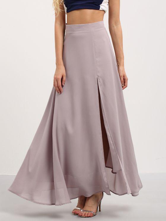 Purple Split Chiffon Maxi Skirt | MakeMeChic.COM