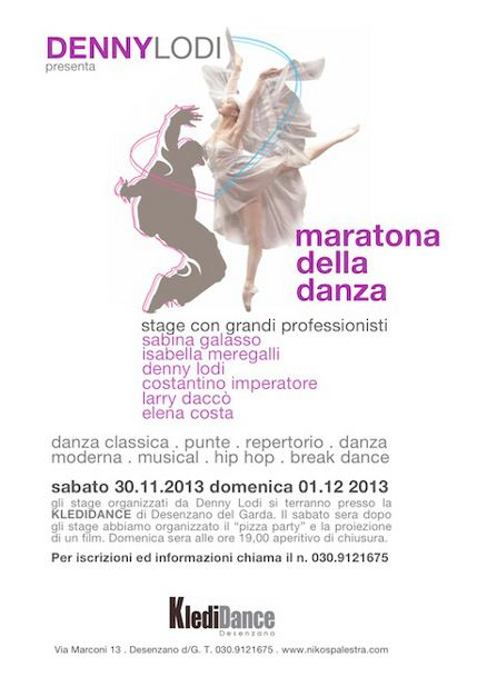 MARATONA DELLA DANZA 30 novembre e 01 dicembre 2013 « weekendinpalcoscenico la danza palco e web | IL PORTALE DELLA DANZA ITALIANA | weekendinpalcoscenico.it