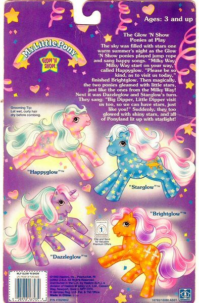 Glow 'n Show Ponies Backcard from My Little Wiki
