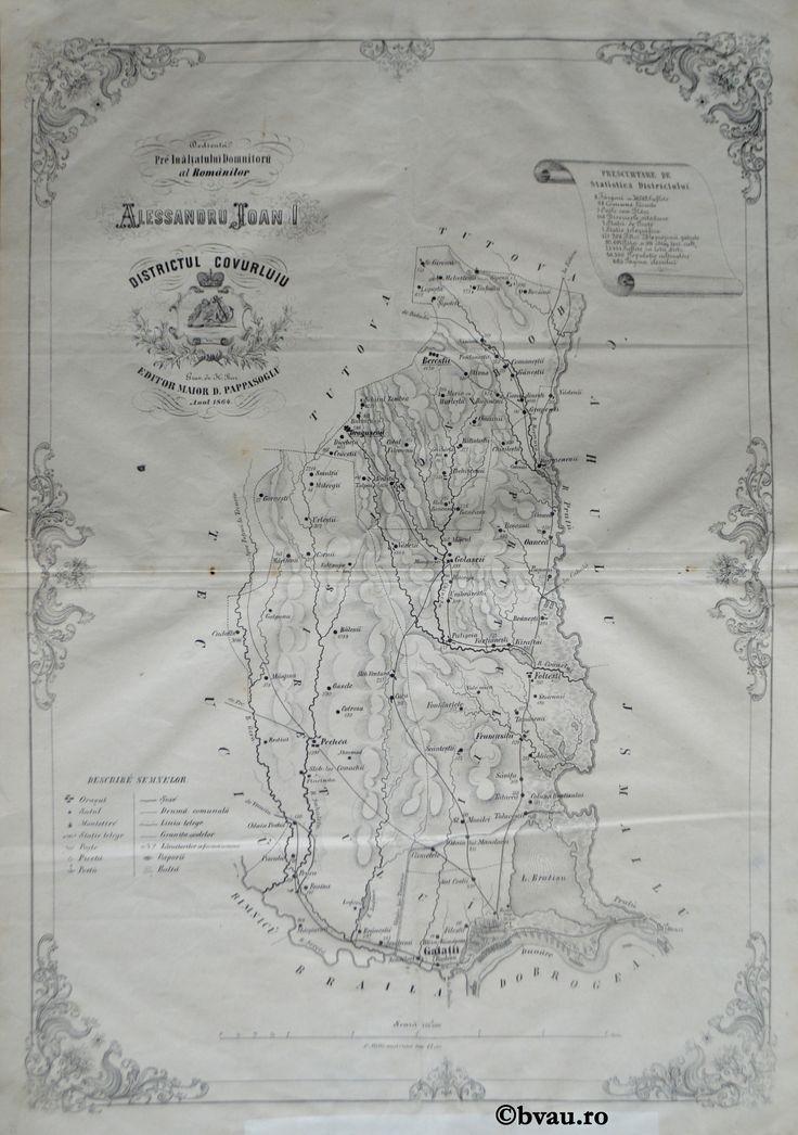 """Districtul Covurluiu, întocmit şi editat de Maior D. Pappasoglu, 1864. Imagine din colecțiile Bibliotecii """"V.A. Urechia"""" Galați."""