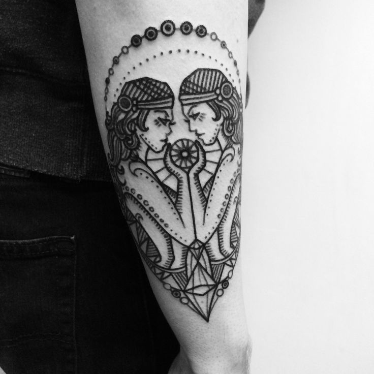Gemini tattoo inspired by vintage zodiac.   Tattooed by Noelle LaMonica  Divine Machine Tattoo