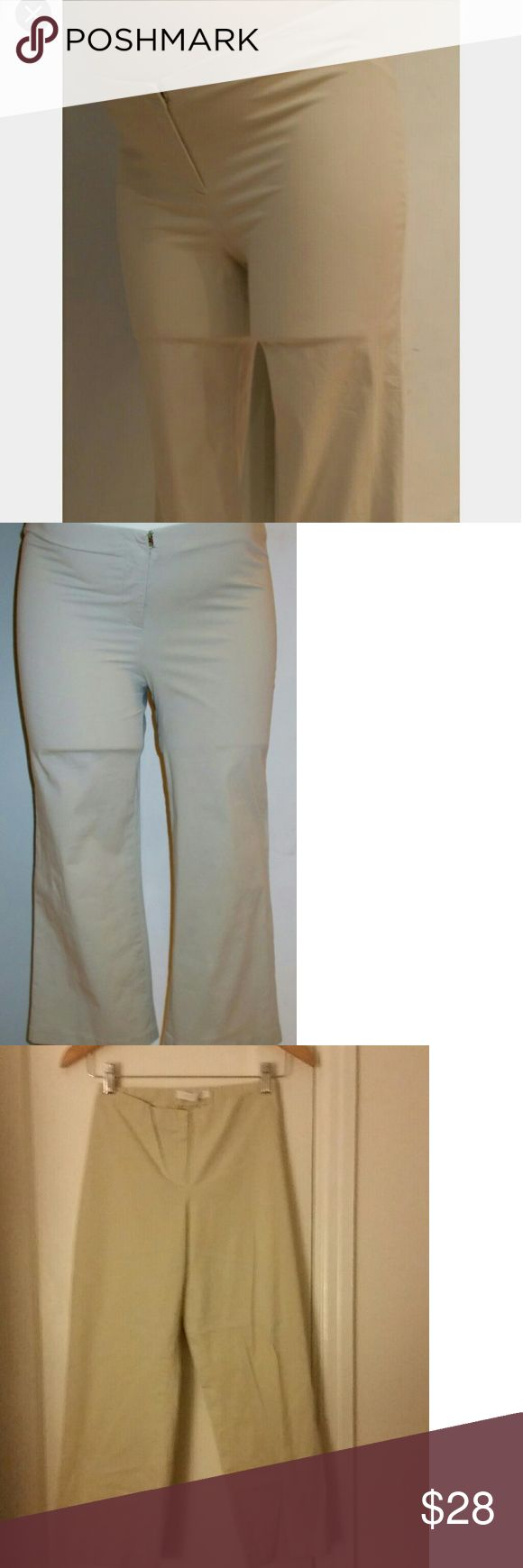 Chaiken Maternity Khaki Cropped Capri Pants M Lightweight, summery, cute khaki cropped pants from Chaiken!  One of the world's leading designers in fine ladies wear developed a maternity line with beautiful fit and comfort to boot!   The fabric is light and will be super comfortable during the hot days ahead. Wear them into fall too. They feature a button and elastic adjustable waistband and can be worn post pregnancy. Slightly fitted through leg and then a relaxed fit on leg opening. Super…