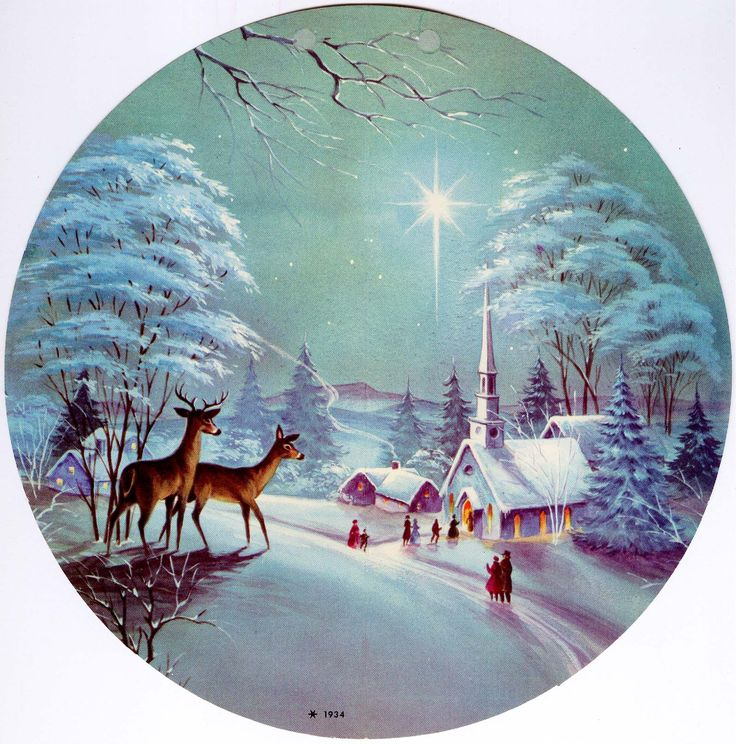 #Christmas #church #snow #star (vintage round greeting card)