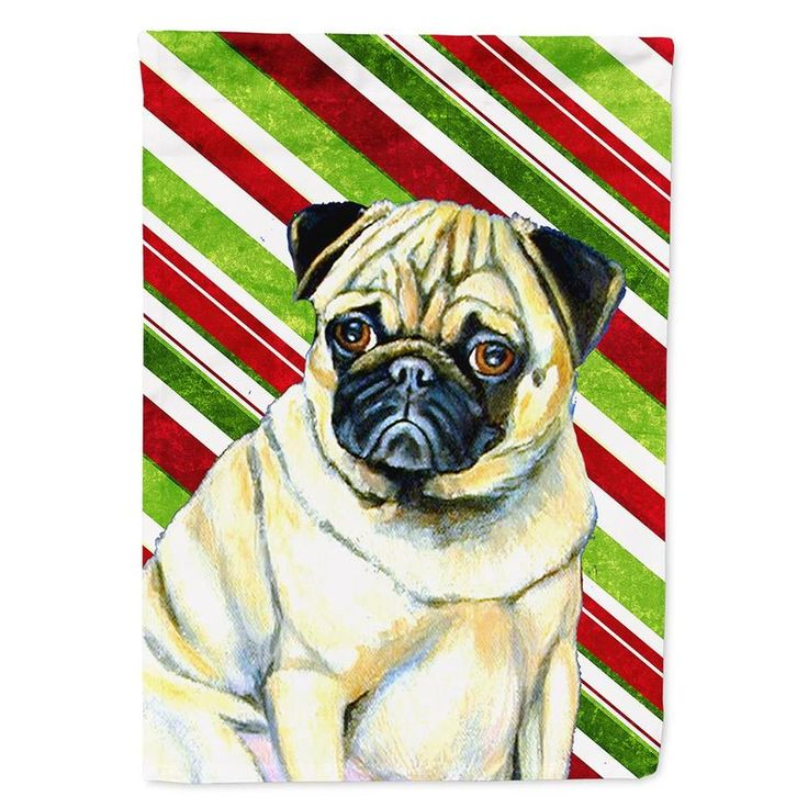 Caroline S Treasures Pug Candy Cane Holiday Christmas Flag Garden