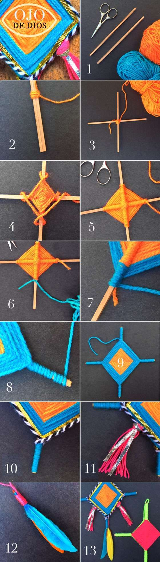 How to make Ojo de Dios! Step-by-step video craft tutorial!
