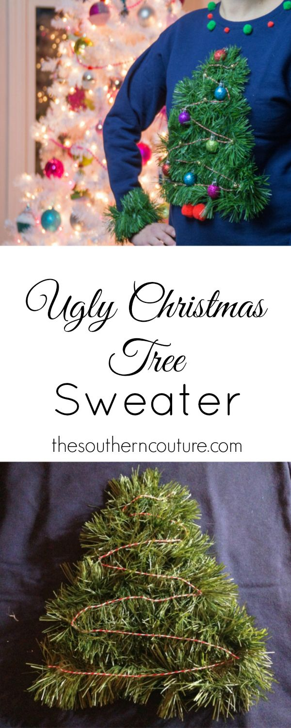 Transform a sweatshirt into a tacky Christmas tree sweater perfect for any party. This DIY is easier than you think with the no-sew tutorial at thesoutherncouture.com.