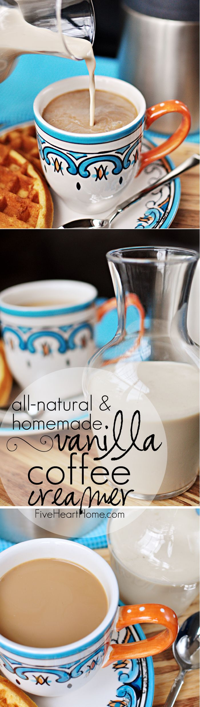 All-Natural and Homemade: Vanilla Coffee Creamer ~ enjoy rich, creamy, vanilla-laced coffee without the preservatives and artificial ingredients of store-bought creamers! | FiveHeartHome.com