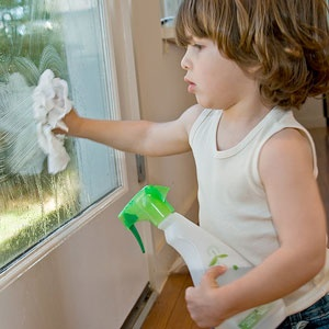 Using green cleaners to maintain healthy spaces.