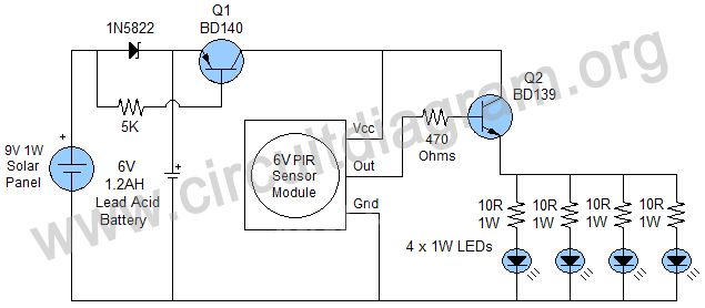 Motion Sensor Solar Outdoor Light Circuit