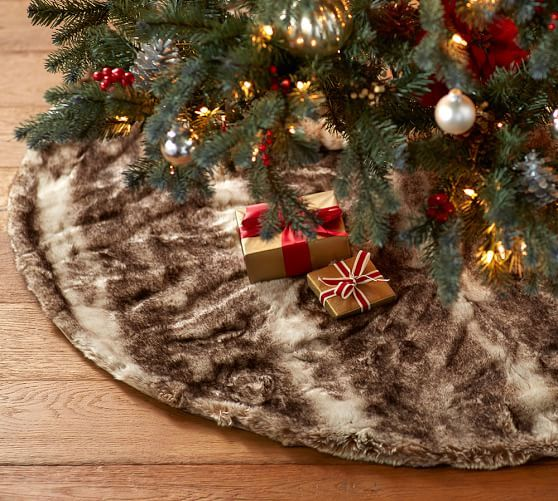 Faux Fur Tree Skirt - Caramel Ombre