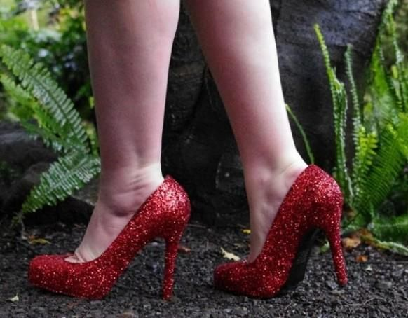 Rouge rubis chaussures de mariage chaussures de mariée scintillante ♥ Glitter