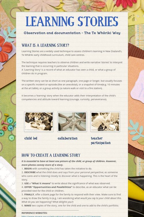LEARNING STORIES--this is an interesting idea. Te Whariki New Zealand early childhood curriculum
