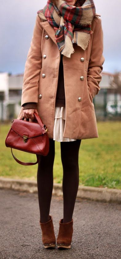 Camel coat, black tights, skirt, big scarf, booties. adorable cozy outfit!