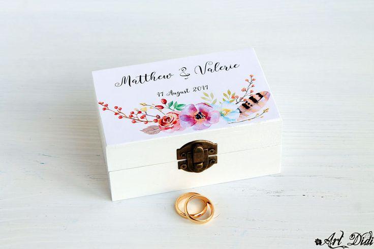 Wedding box Wreath wedding ring box ring bearer box wreath box Watercolor wreath custom ring holder personalized box wedding ring box by ArtDidi on Etsy