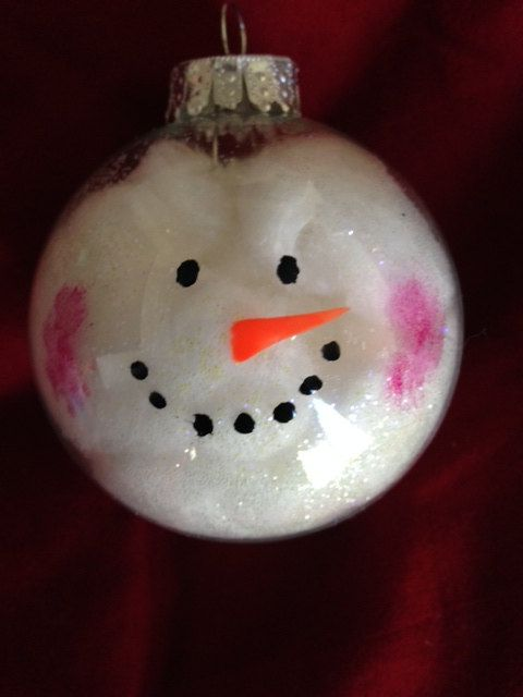 Cotton ball Snowman Ornament. Super cute and way easy to make.