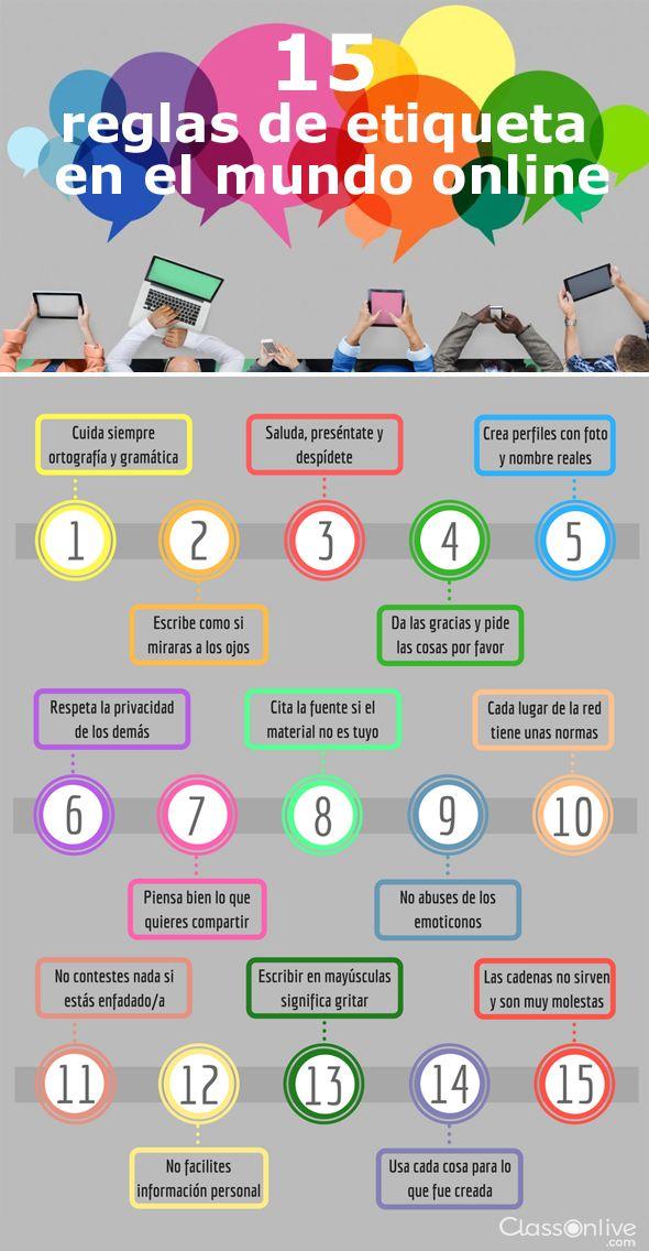Hola: Una infografía con15 reglas de etiqueta en el Mundo online. Vía Un saludo