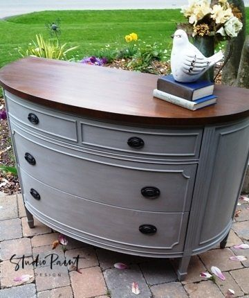 Duncan Phyfe Demillune Dresser Painted with ASCP in French Linen, whitewashed and gel stained