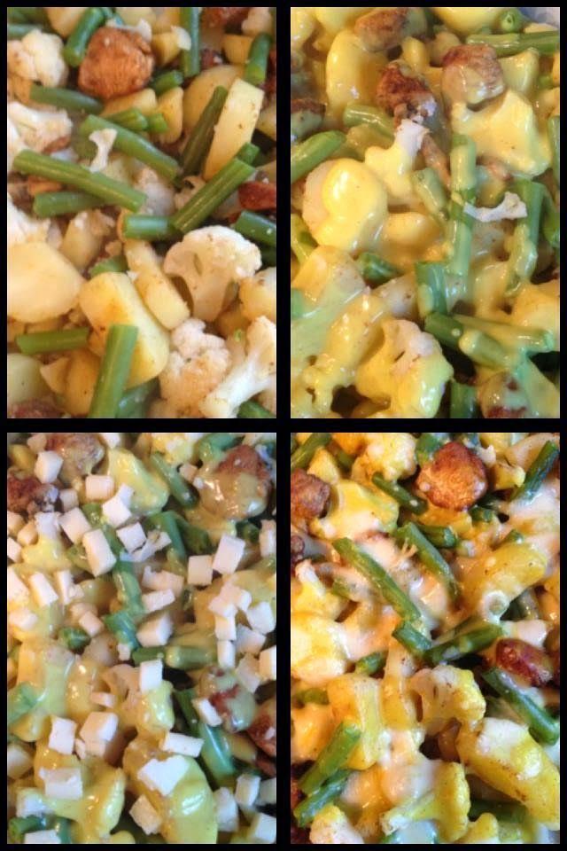 Hollandse ovenschotel bloemkool, boontjes, aardappel kip en kerriesaus