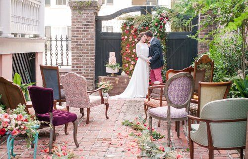 Wedding ceremony at the Parsonage House | Charleston, SC - The French Eclectic Vintage Rentals