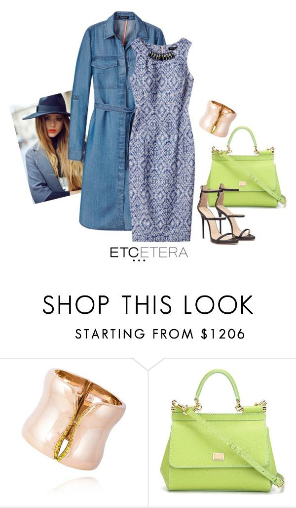 """""""Etcetera: BLUEGRASS denim dress as topper with SWAG dress."""" by etcetera-nyc ❤ liked on Polyvore featuring Etcetera, Dolce&Gabbana, WorkWear, etceteracollection, etceteranyc and summer2016"""