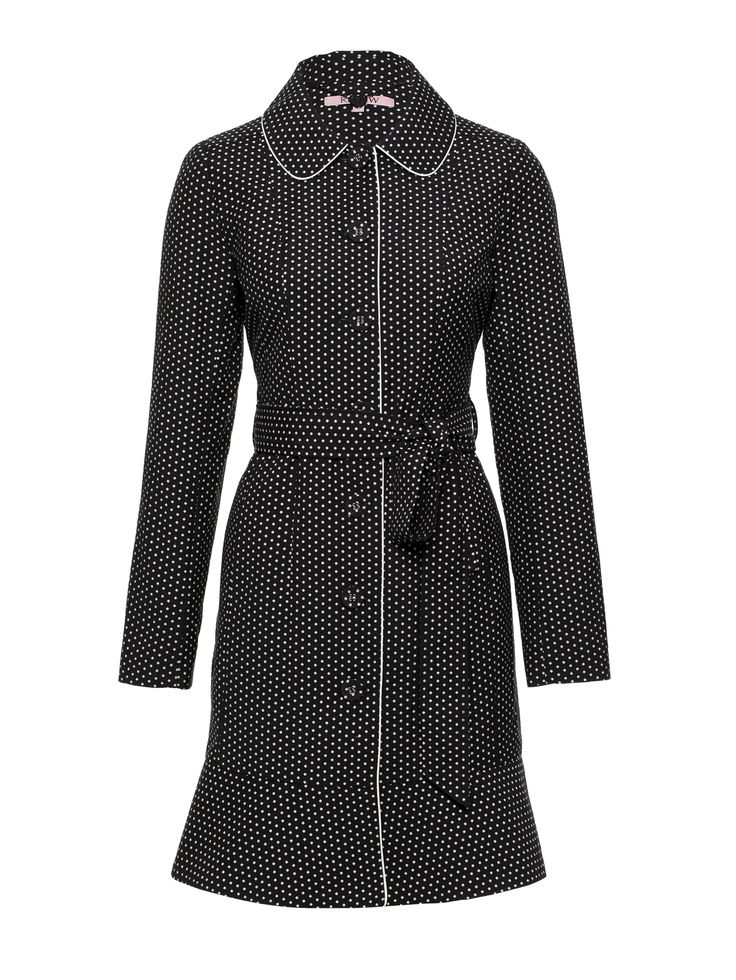 Brinkley Coat   Black & Cream   Polka Dots