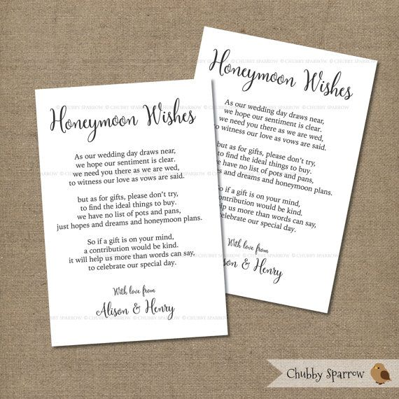 Honeymoon Wedding Gift: Wedding Gifts List Card Information Honeymoon By