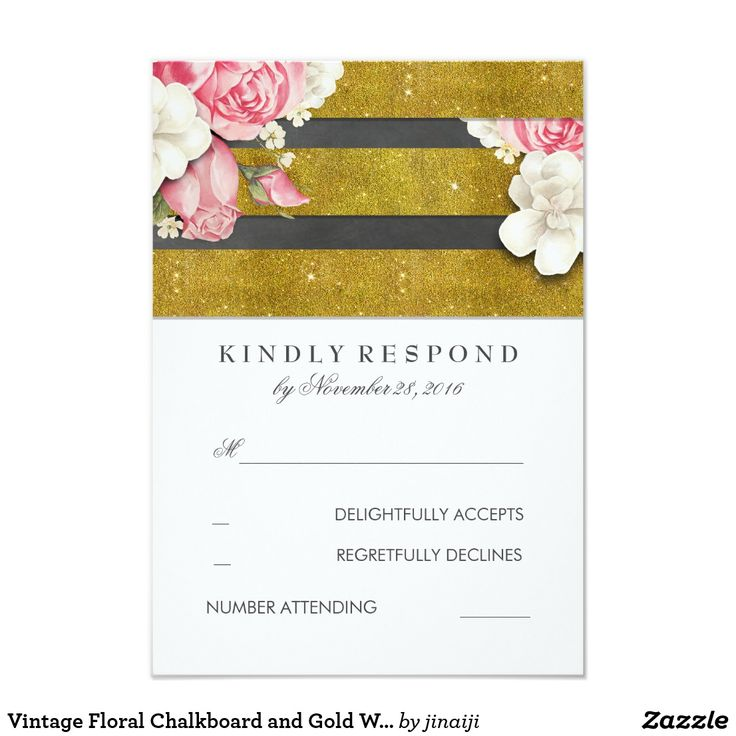 Vintage Floral Chalkboard and Gold Wedding RSVP Card White, chalkboard and gold vintage floral wedding reply cards