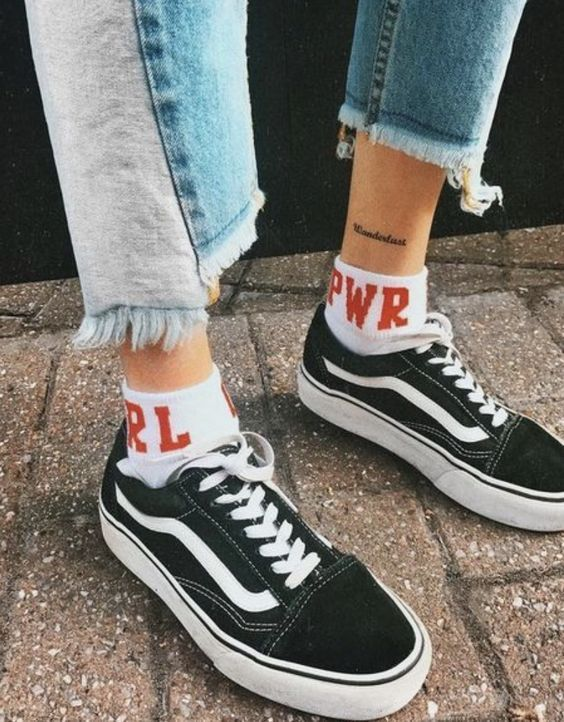 eef5d8e2626 girl power + vans old skool  socks  shoes  jeans  vans  fashion   fashionideas  summer  spring  affiliate