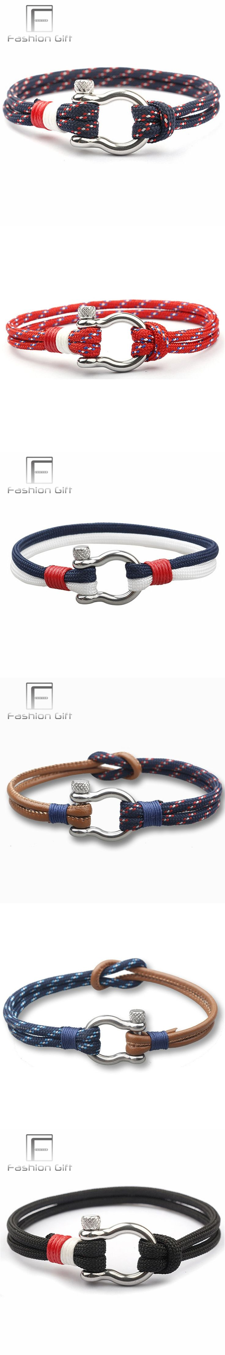 Fashion Men Leather Bracelets of Survival Stainless Steel Clasp Sport Climbing Rope Bracelet Handmade Jewelry