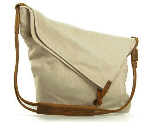Jeansian Men's Womens Unisex Canvas Messager School Hang Bag Beige BG054 *** Be sure to check out this awesome product.