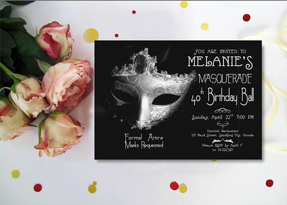 Masquerade Birthday Invitation Masquerade Party Invitation