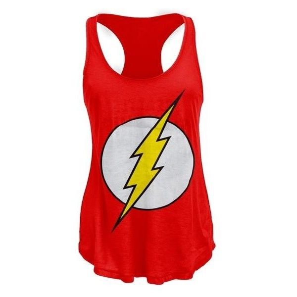 The Flash Logo Racerback Juniors Tank Top ❤ liked on Polyvore featuring tops, shirts, blusas, tank tops, red tank top, summer tanks, red shirt, loose racerback tank tops and loose tank tops