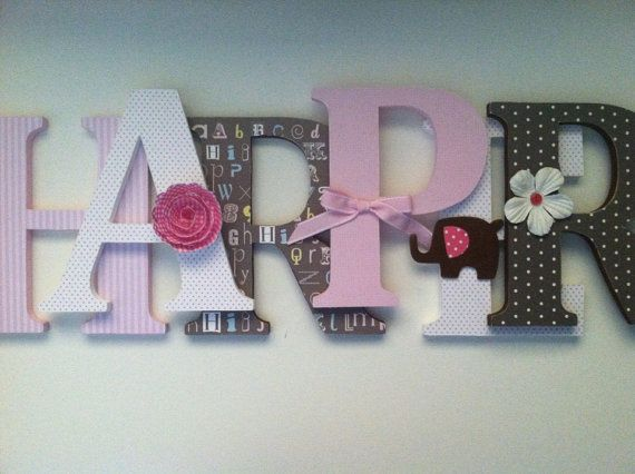 Alphabet wooden letters for nursery in pink white by SummerOlivias, $13.00