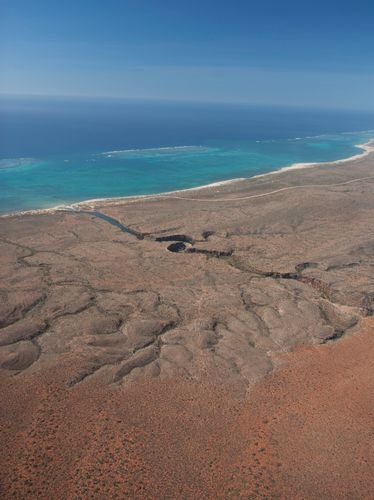 Looking down over Yardie Creek in The Cape Range National Park and the Ningaloo Coast - Western Australia