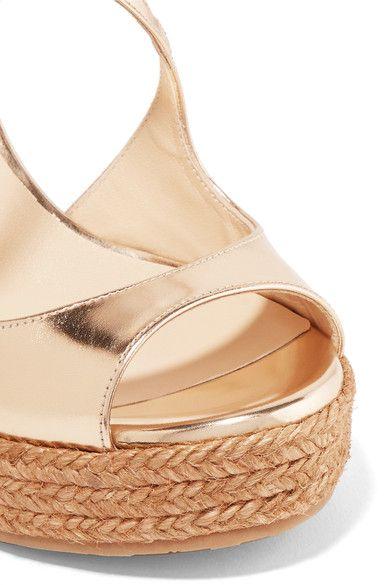 Jimmy Choo - Dakota Metallic Leather Wedge Sandals - Gold - IT36.5