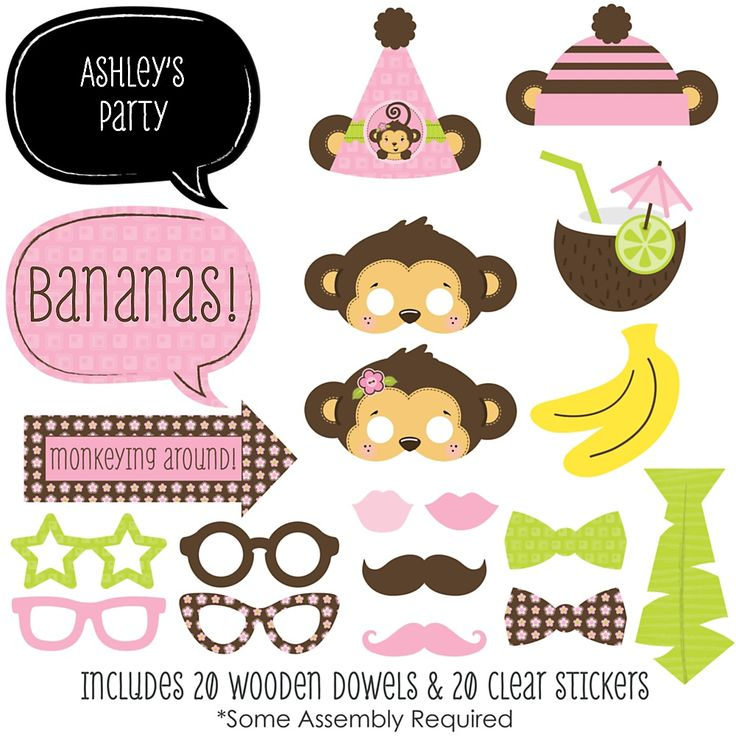 Monkey Girl - Baby Shower Photo Booth Props Kits - BabyShowerStuff.com