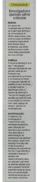 """""""Investigadores [do CEB] querem salvar colmeias"""" é notícia no ionline.pt! #CEB #Investigação #Abelhas #jornali"""