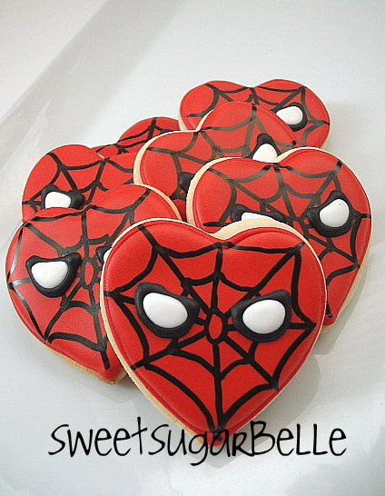 Idea for Valentine's cookies. Being a Spiderman fan, I like these a lot!  :)