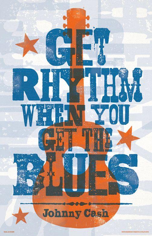 Johnny Cash  Get Rhythm  Digital Lyric Poster by RedRobotCreative